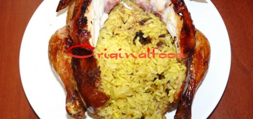 Курица с хрустящей корочкой в духовке фаршированная желтым рисом с черносливом