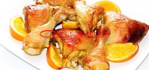 Курица с апельсинами запеченная в духовке